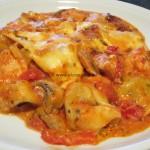Tortelloni con pollo - funghi - pancetta é peperoncini al forno