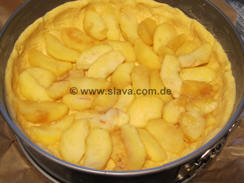 Saftiger apfel pudding kuchen