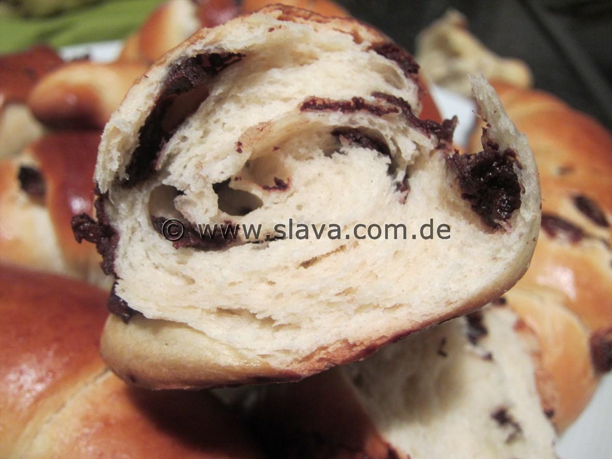 Softe Schoko- und Rosinen-Kifle-Hörnchen
