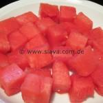 Insalata di anguria, feta, olive e pomodorini