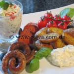 Drillinge - Churizo und Bratwürstchen an Knoblauch Dip