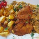 Mini – Schnitzelchen mit Bratkartoffeln und Rahm-Champignons