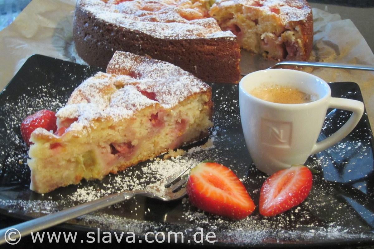Feiner Saftiger Erdbeer Rhabarber Joghurtkuchen Kochen