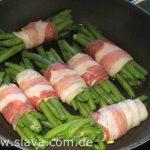Schweinefilet mit Speckbohnen und Pilzsauce